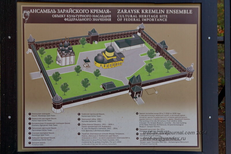 Схема Зарайского кремля