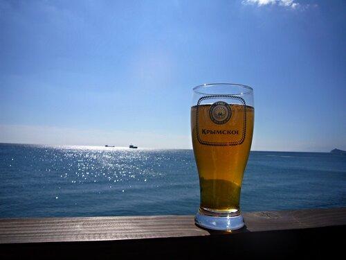 пиво, крымское, лето, море, горизонт