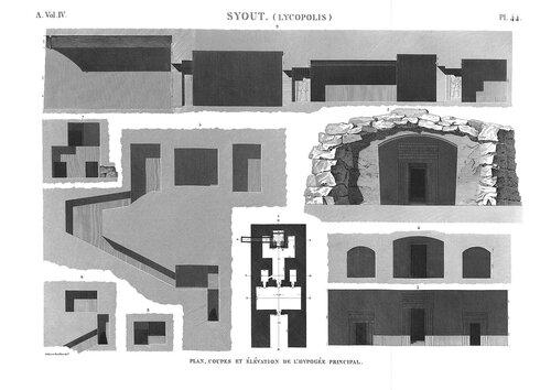 Скальная гробница в Асьюте, чертежи