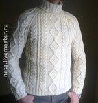 свитер с косами и ромбами