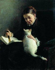 Н. А. Ярошенко (1846-1898). Дама с кошкой