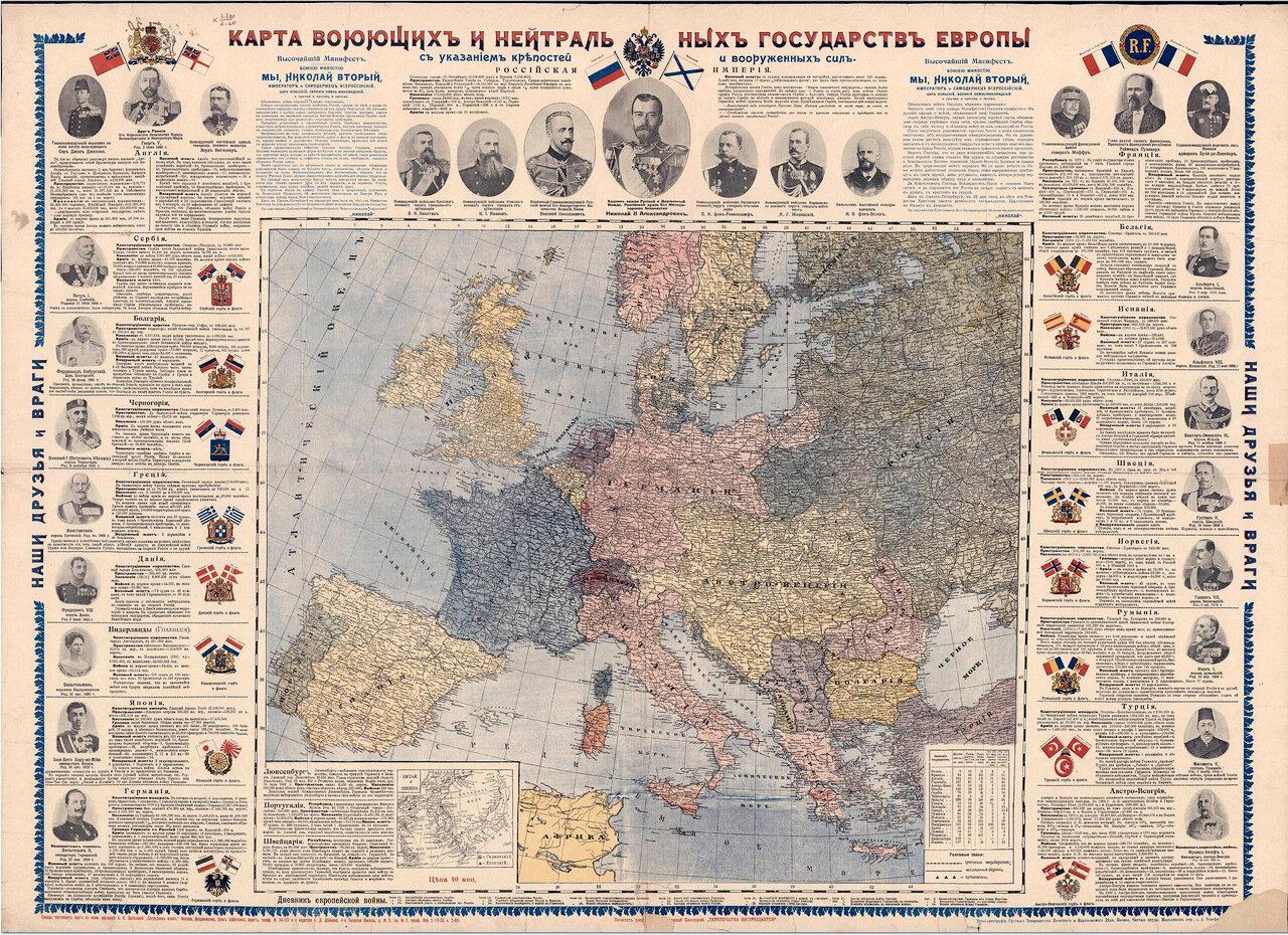 Карта воюющих и нейтральных государств Европы