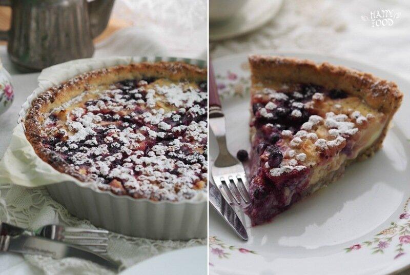 Пирог с ягодами на творожном-ореховом тесте