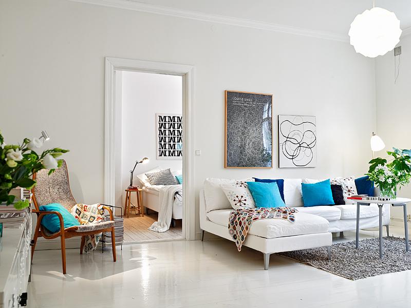 Белый цвет в интерьере гостиной, фото 20