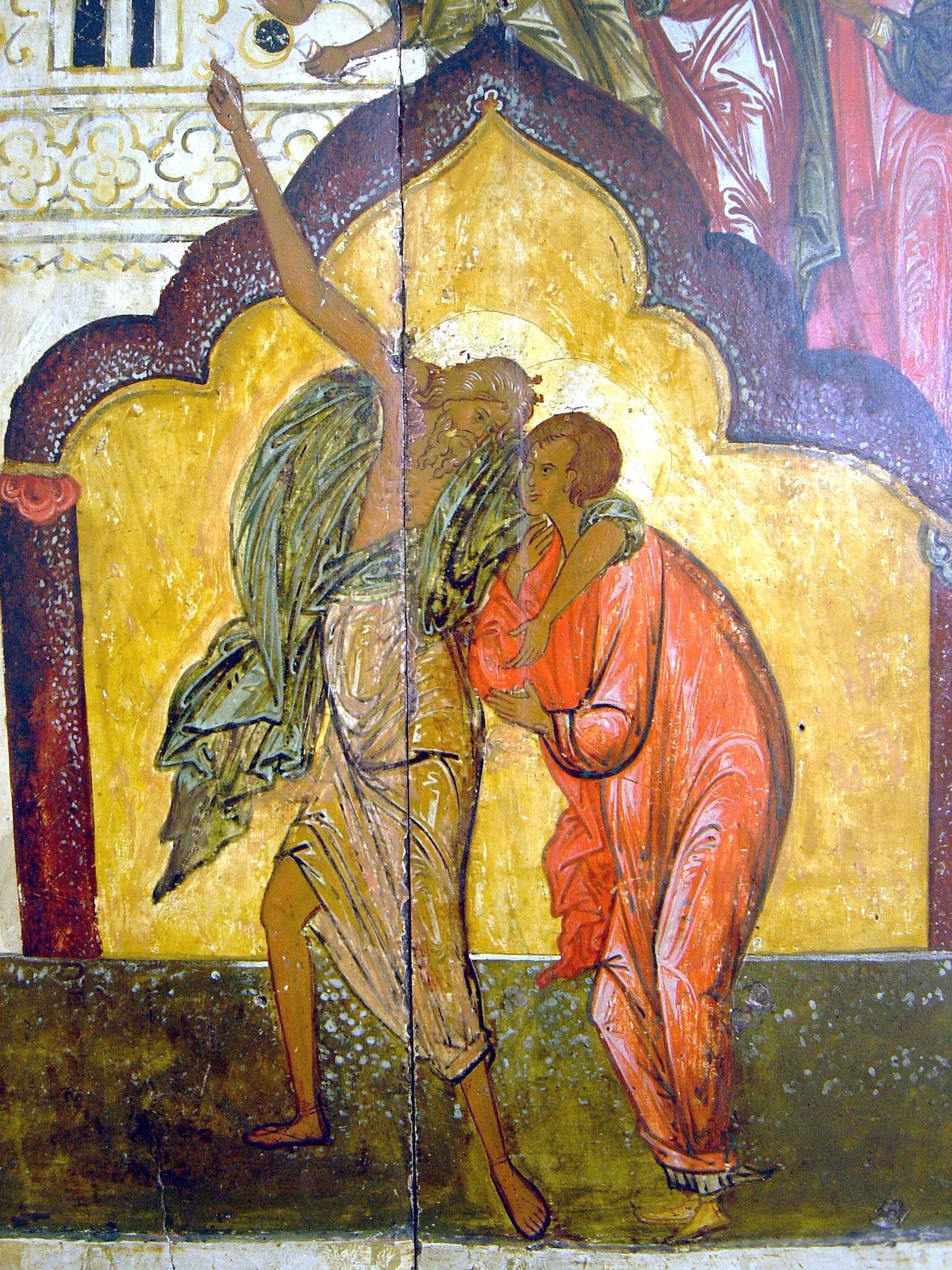 Покров Пресвятой Богородицы. Икона XVI века. Фрагмент. Св. Андрей Юродивый и его ученик Епифаний.