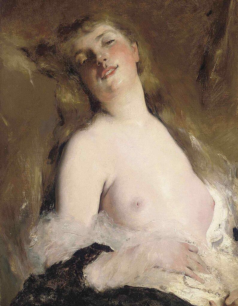Charles Chaplin, 1825-1891. Женщина с обнаженной грудью. 72.5 x 50 см.jpg