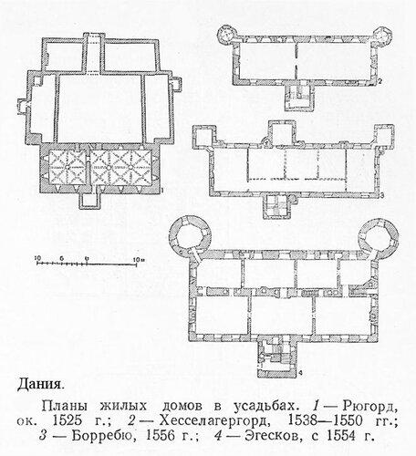 Усадебные дома Дании XVI в., планы