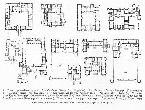 Планы усадебных домов Англии XV-XVI вв., планы
