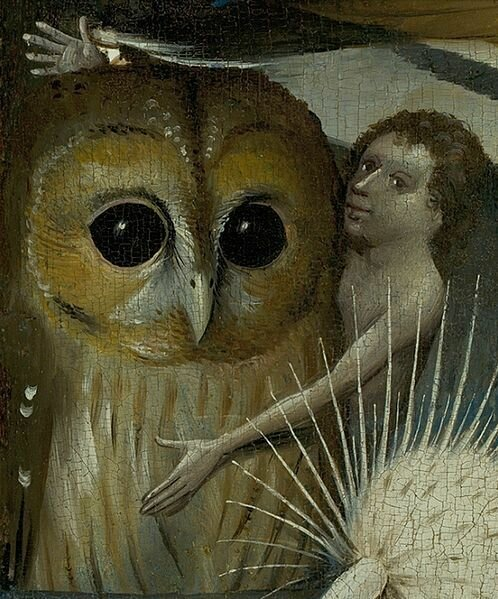 Hieronymus Bosch - The Garden of Earthly Delights Central panel, Detail with Owl and boy or young man (lower left)