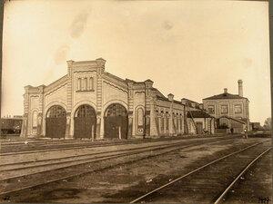 Вид вагонного сарая для императорского поезда.