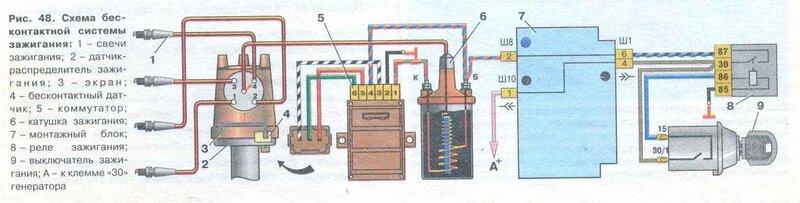 1 - свечи зажигания; 2 - датчик-распределитель зажигания; 3 - экран; 4 - бесконтактный датчик; 5 - коммутатор: 6...