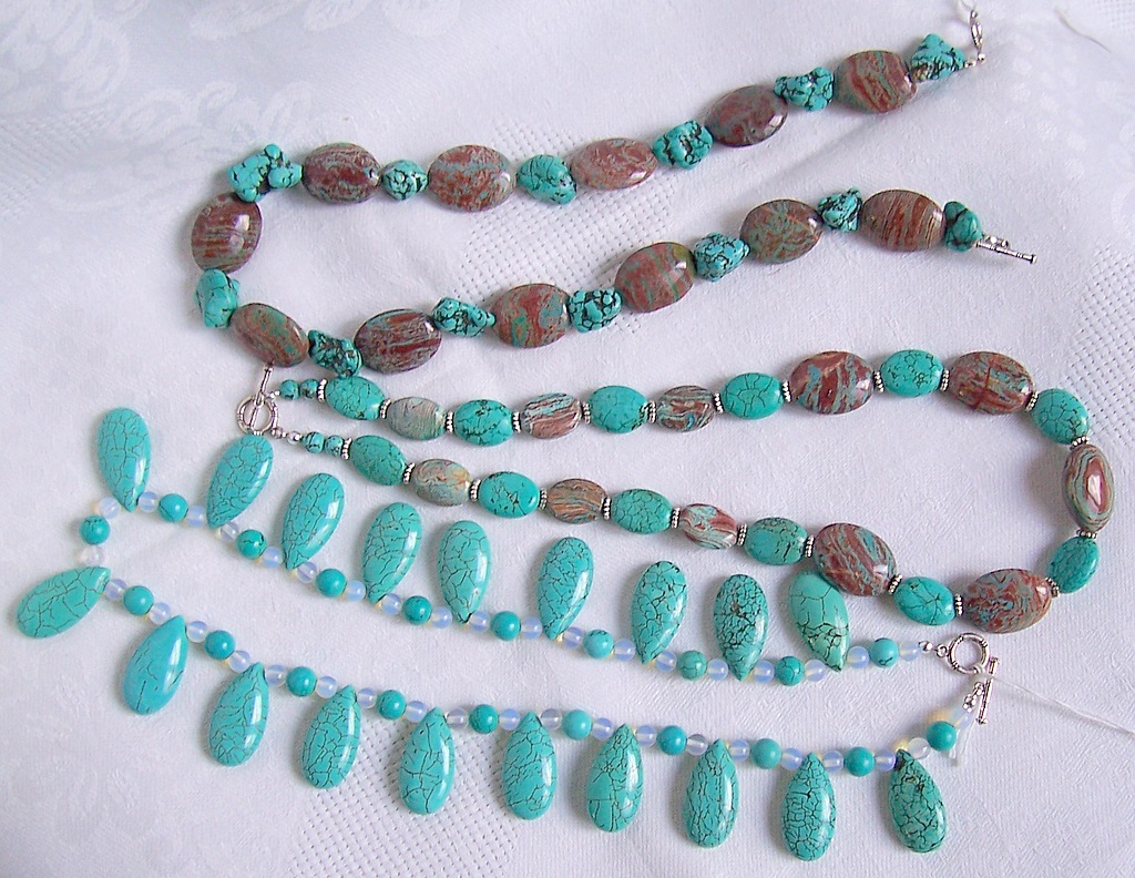 howlite,turquoise,imperial turquoise,necklaces,necklace,bracelet,earrings,semiprecious stones