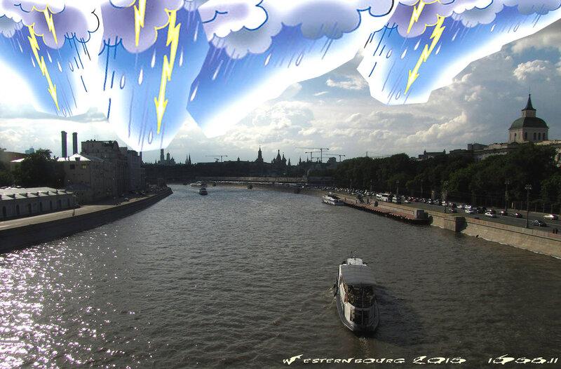 1358.11 Вид на Москву-реку с Большого Устьинского моста в грозу