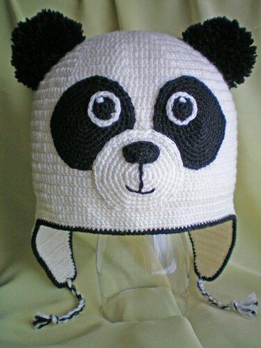 шапка панда крючком схема