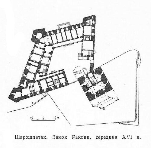 Замок Ракоци в Шарошпатаке, план
