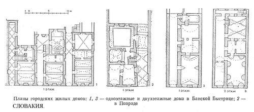 Жилые городские дома Словаикии XV-XVI вв., чертежи