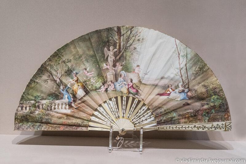 Веер-скелет «Сцена в парке». Франция. 1890-е годы.