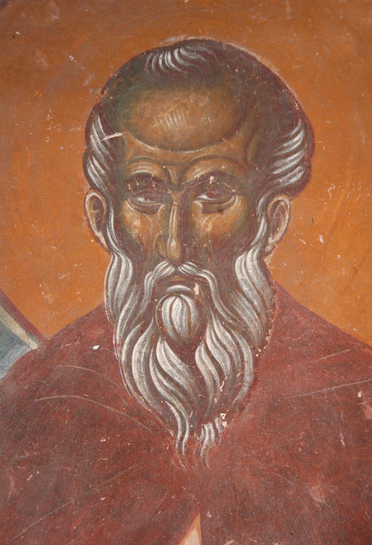 Святой Преподобный Павел Препростый. Фреска монастыря Трескавец, Македония. XIV век.