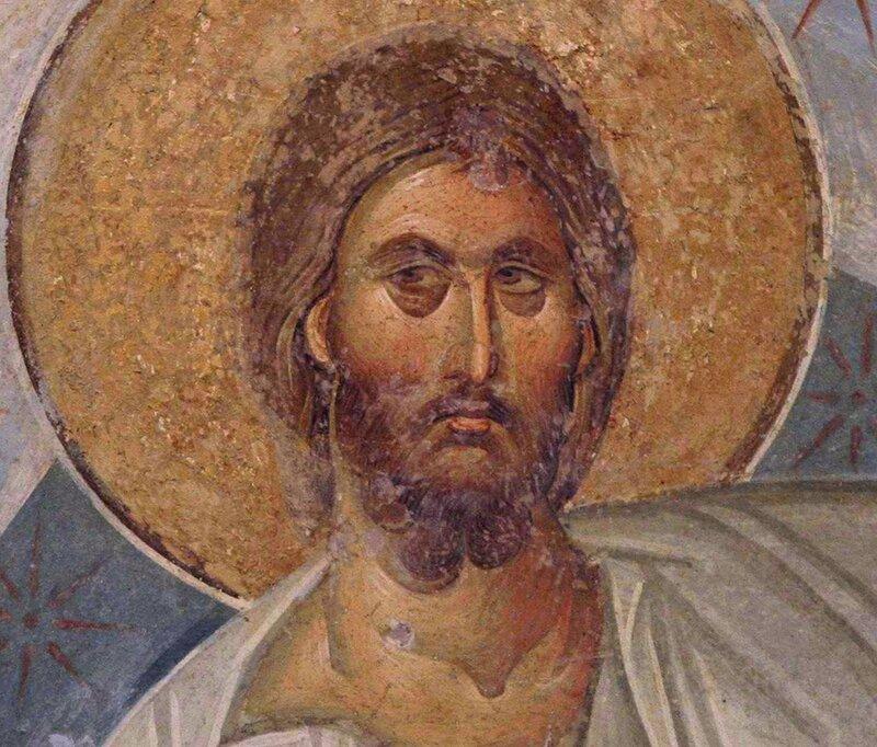 Лик Спасителя. Фрагмент фрески монастыря Хора в Константинополе. 1315 - 1321 годы.