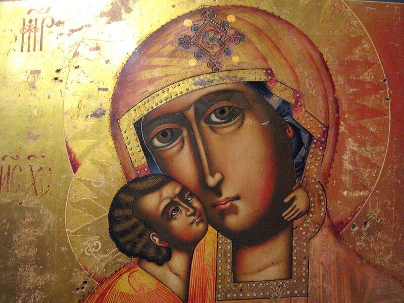 Феодоровская икона Божией Матери. 1763 год. Фрагмент.