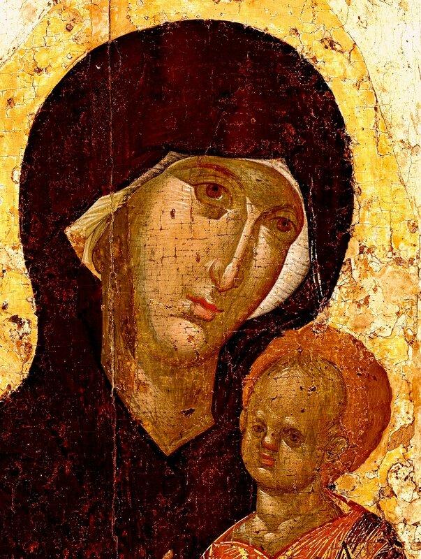 Чудотворная Пименовская икона Божией Матери. Византия, XIV век. Фрагмент.