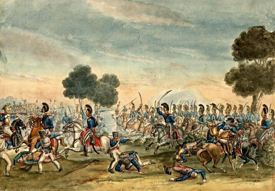 Прусская кавалерийская и французском Беглецы в 8 вечера Чарльз Тернер Уоррен.jpg