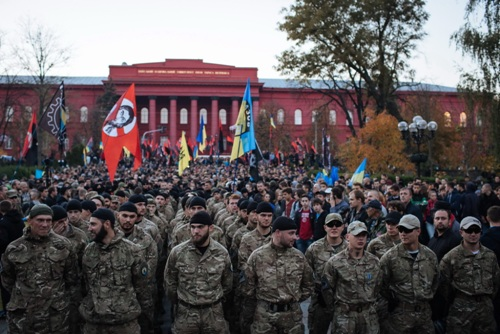 Эти последователи Бандеры вкусили крови на Донбассе. Киев, 14 октября.