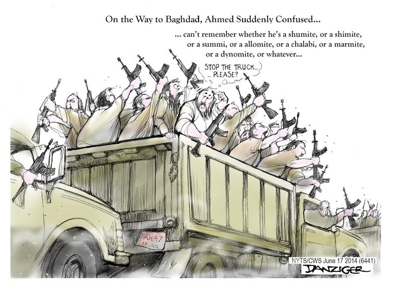Baghdad, ISIS, Sunnis, Shiites, confusion, political cartoon
