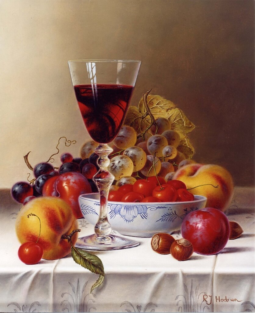 Roy Hodrien - Still Life with Red Wine & Cherries on a Tablecloth - 26124-2426.jpg