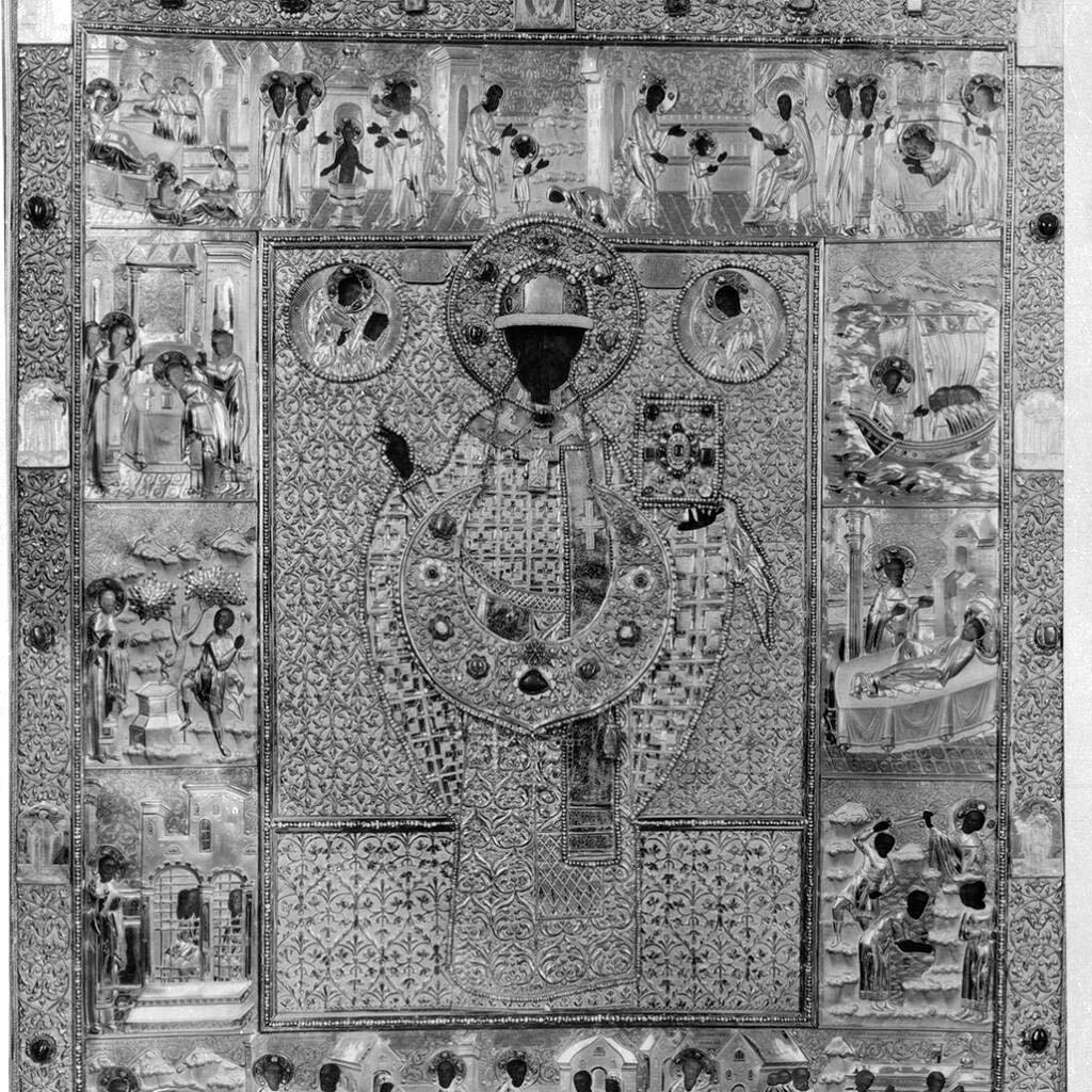 Никольская церковь. Образ святого Николая Чудотворца Зарайского с житием в окладе