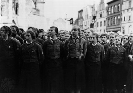 "Members of the Jungmädel (""Young Girls""), the female branch of the Hitler Youth, …[Credits : The Granger Collection, New York]"