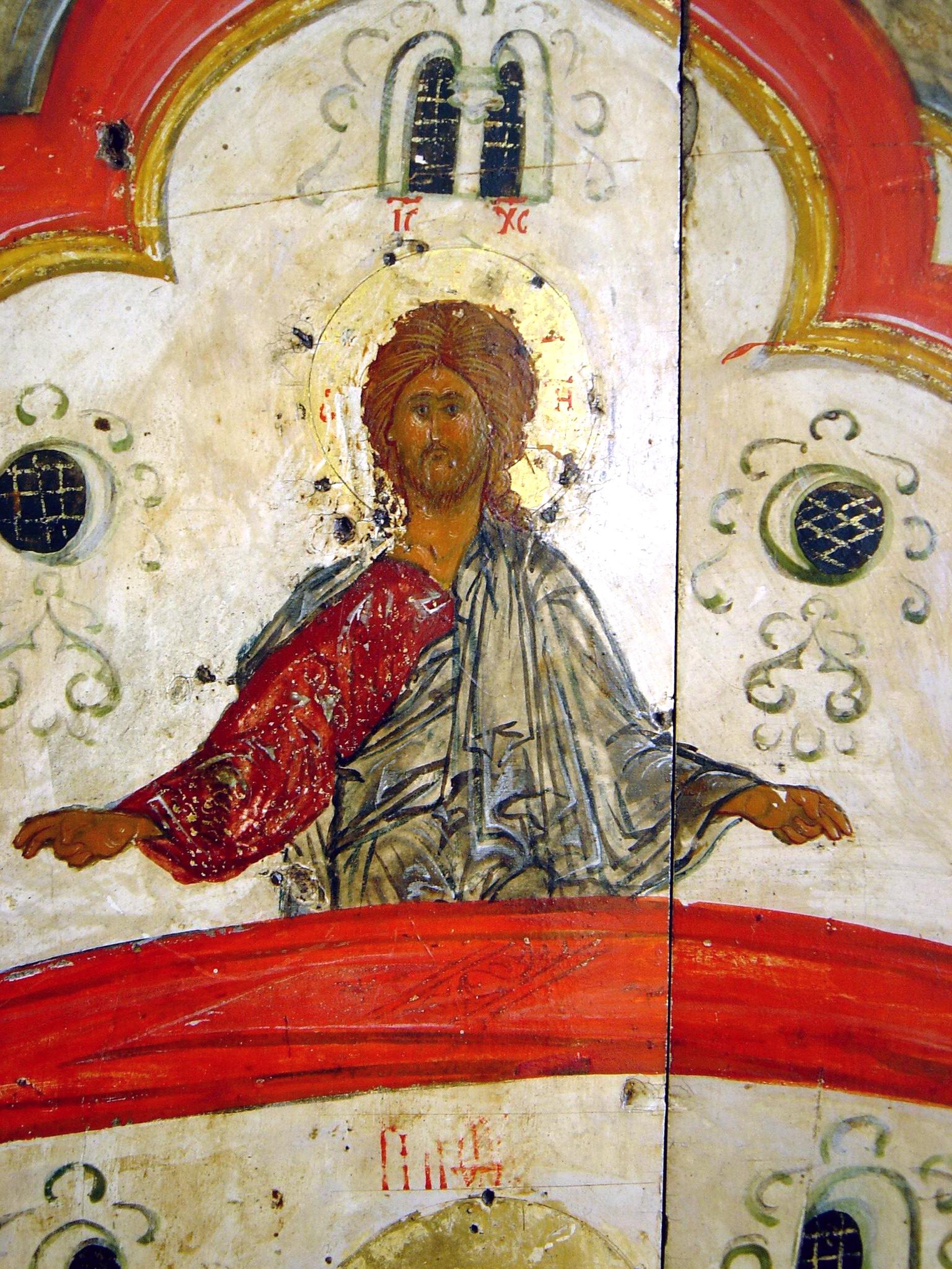 Покров Пресвятой Богородицы. Икона XVI века. Фрагмент. Благословляющий Христос.