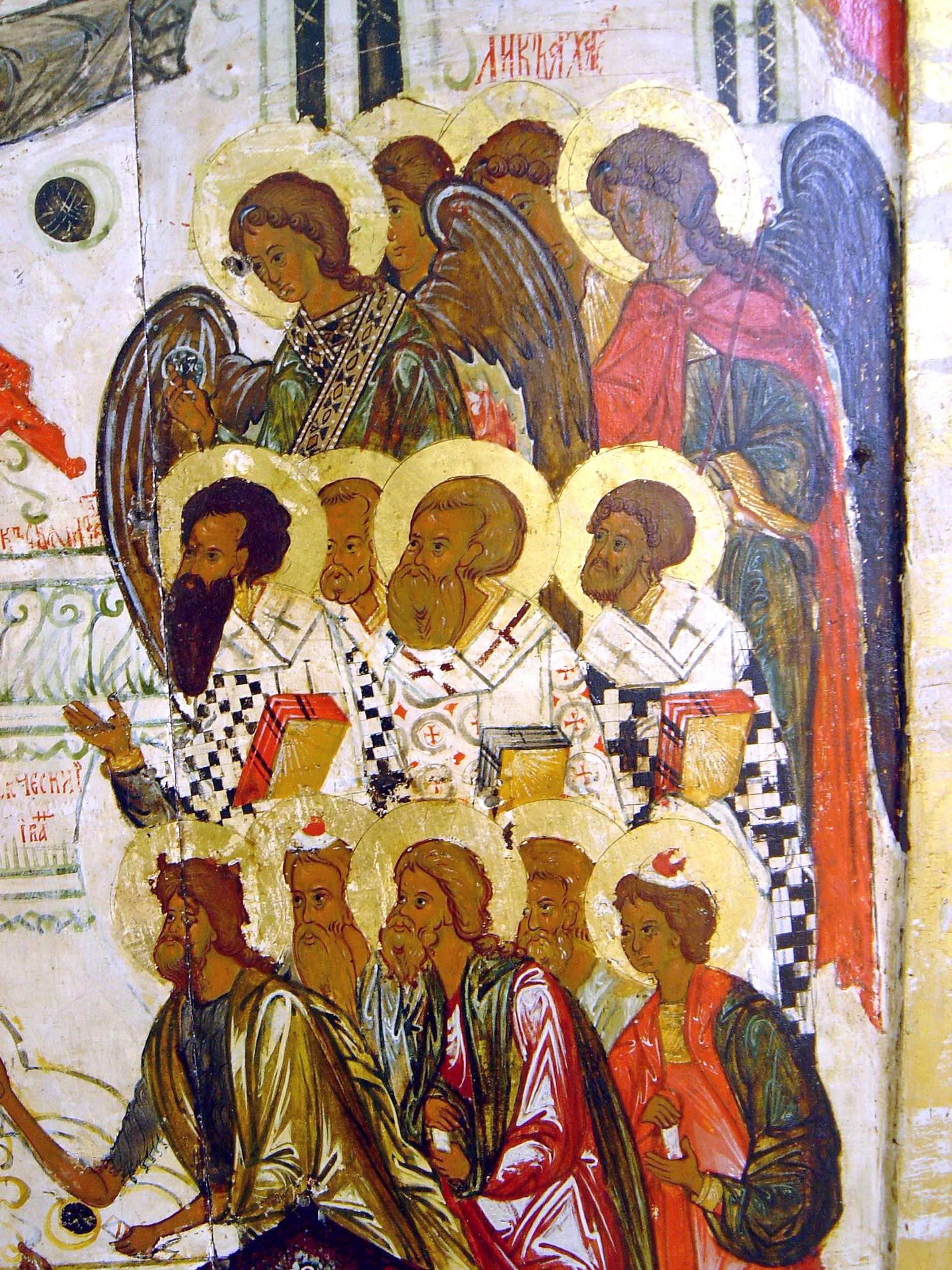 Покров Пресвятой Богородицы. Икона XVI века. Фрагмент. Лики Архангелов, Святителей и Пророков.