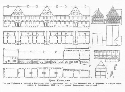 Жилые дома Дании XVI-XVII вв., чертежи и пример фахверковой конструкции