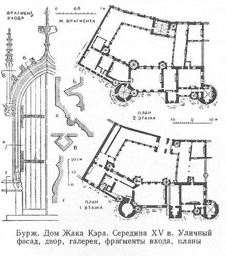 Дом Жака Кэра в Бурже, чертежи