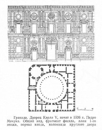Дворец Карла V в Гранаде, чертежи
