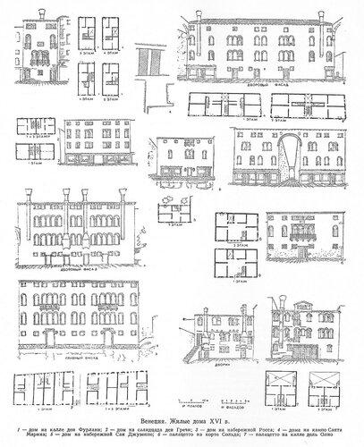 Жилые дома Венеции XVI в., чертежи