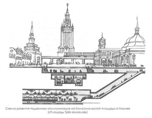 """Схема развития подземных коммуникация на Комсомольской площади в Москве ( """"Площадь Трёх вокзалов """") ."""