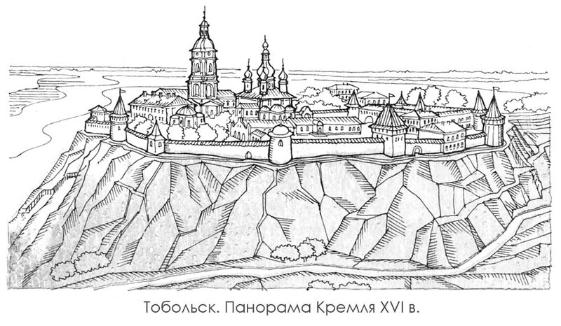 Панорама Тобольска 16 века