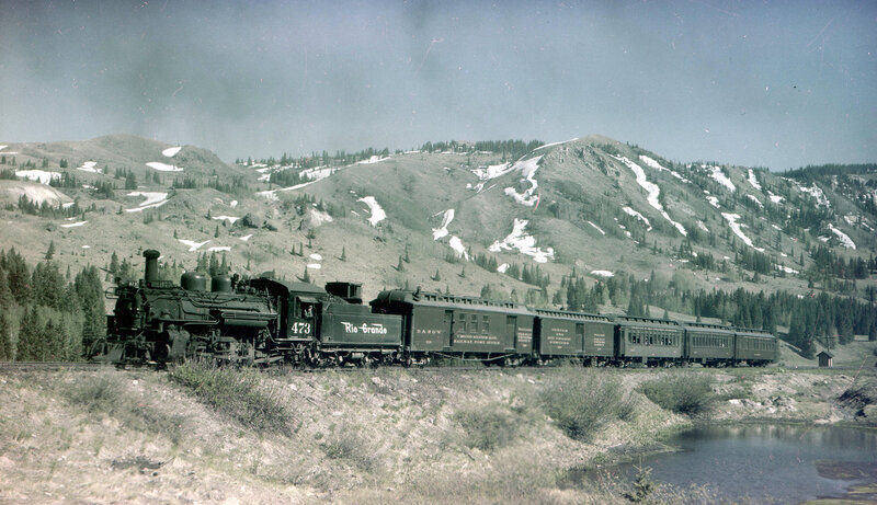 Denver & Rio Grande Western train (Narrow Gauge), engine number 473, engine type 2-8-2, near Coxo, Colo., June 10, 1942