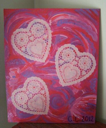 Холст с сердцами