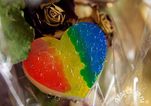 мыло ручной работы, радужное мыло, мыло к 14 февраля, мыло ко дню святого валентина, мыло сердечко, мыло радуга, мыло своими руками из основы