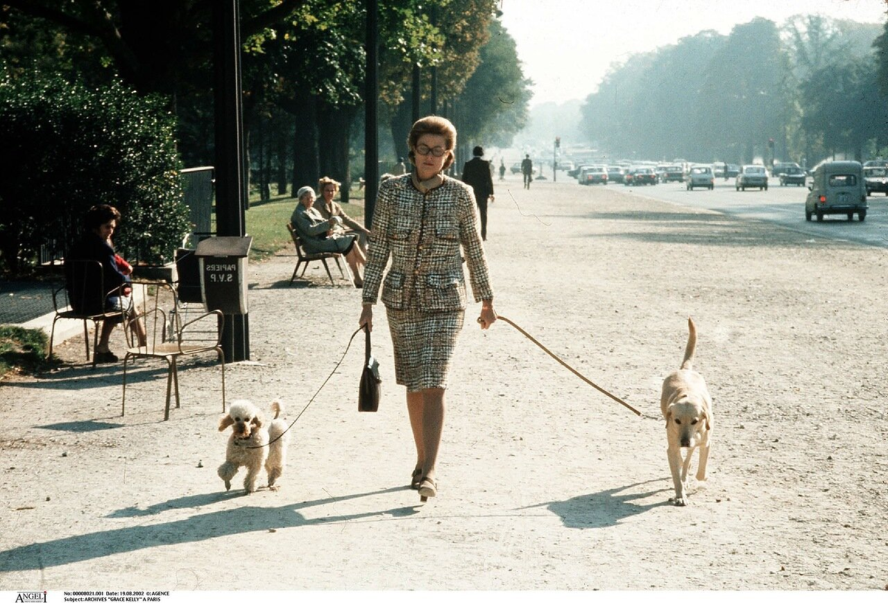 ARCHIVES GRACE KELLY A PARIS MONACO PLEIN PIED CHIEN