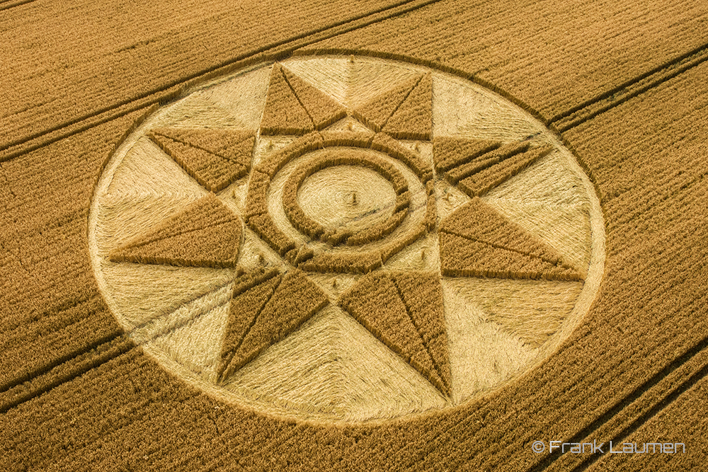 Crop Circle West Kennett Longbarrow, near Avebury, Wiltshire, UK. Reported on the 28th of July, 2016. Stunning aerial photo by Frank Laumen.