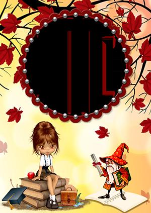 Школьная рамка для фото с сидящей на книгах девочкой-куколкой и гномиком среди осенних листьев