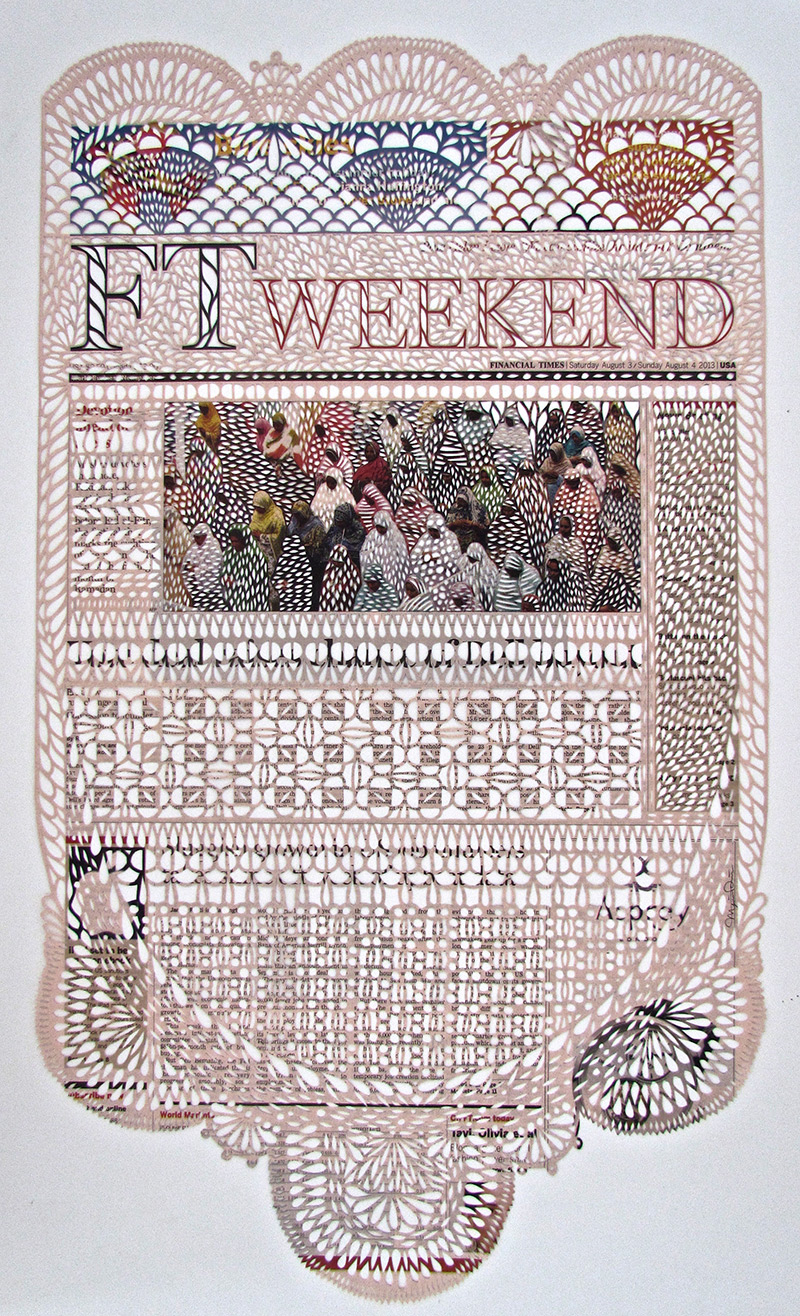 Newspaper Pages Cut Like Embroidered Lace by Myriam Dion