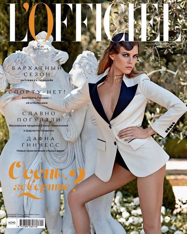Supermodel Maryna Linchuk lands the cover story of L'Officiel Russia 's September 2016 edition