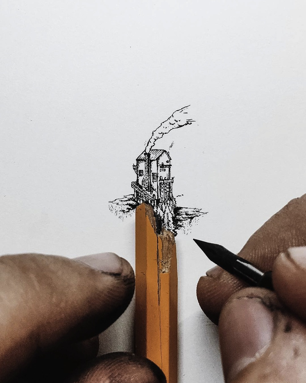 Tiny Ink Drawings Scaled to the Size of Pencils, Fingers, and Matchsticks by Christian Watson