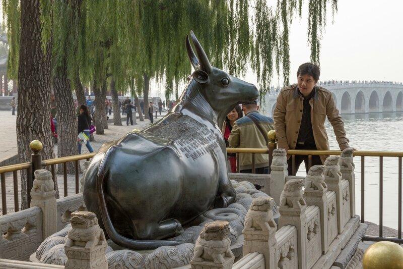Бронзовый бык, парк Ихэюань, Летний дворец, Пекин