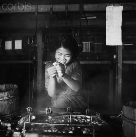 Girl Making Silk Thread in Silk Factory
